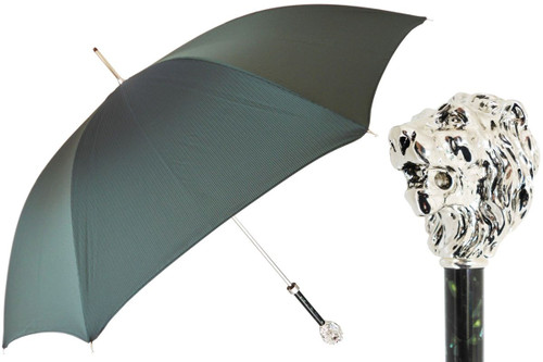 Pasotti Green Umbrella with Silver Lion Handle