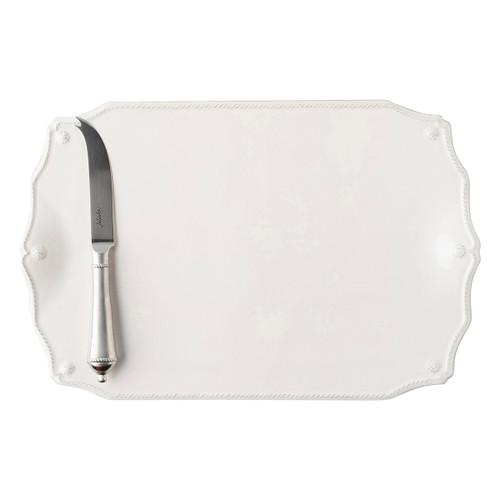 "Berry & Thread Whitewash 15"" Serving Board w/Knife by Juliska"