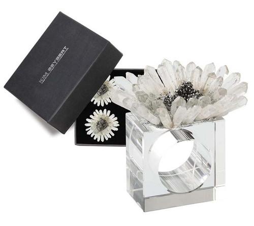 Bloom Napkin Rings in Clear & Silver, Set of 4 in a Gift Box by Kim Seybert