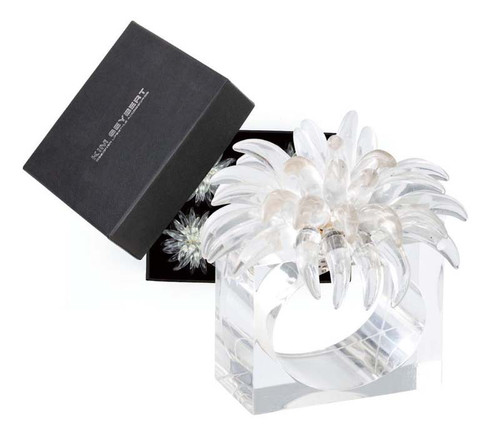 Blossom Napkin Rings in Clear, Set of 4 in a Gift Box by Kim Seybert