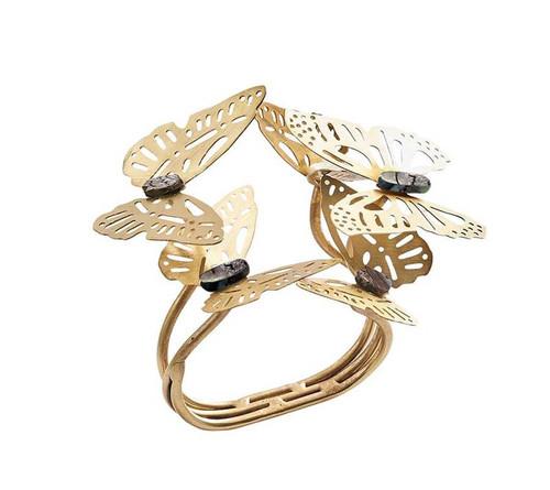 Butterfly Garden Napkin Ring in Gold & Silver, Set of 4 by Kim Seybert