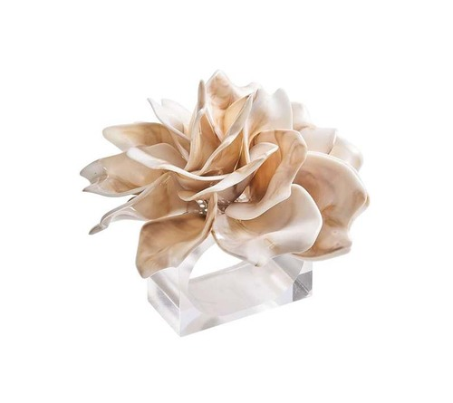 Dahlia Napkin Ring in Ivory, Set of 4 by Kim Seybert