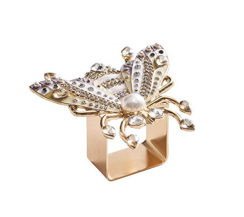 Glam Fly Napkin Ring Set of 4 in a Gift Box by Kim Seybert