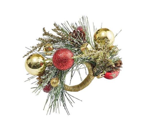 Holiday Bough Napkin Ring in Multi, Set of 4 by Kim Seybert
