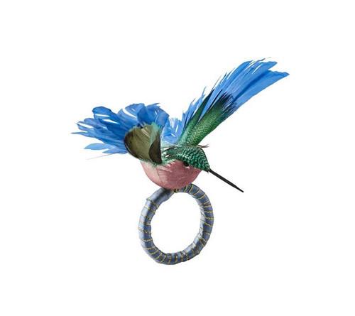 Humm Napkin Ring in Blue & Green, Set of 4 by Kim Seybert