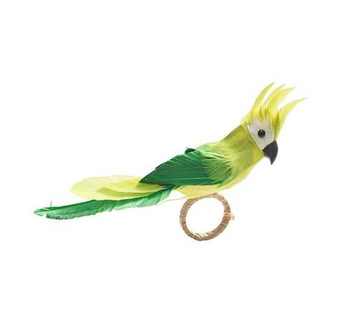 Parakeet Napkin Ring in Green, Set of 4 by Kim Seybert