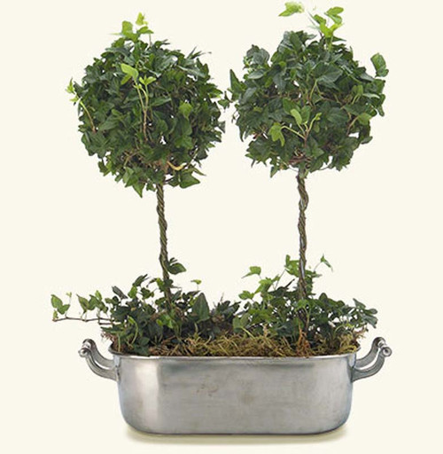 Match Pewter Planter with Handles Large