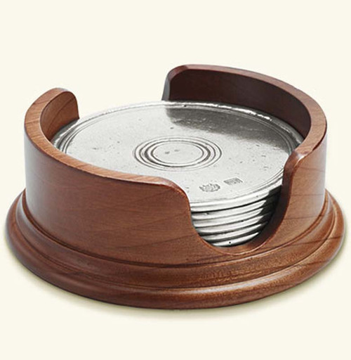Match Pewter Round Coasters with Wood Base, Set of 6