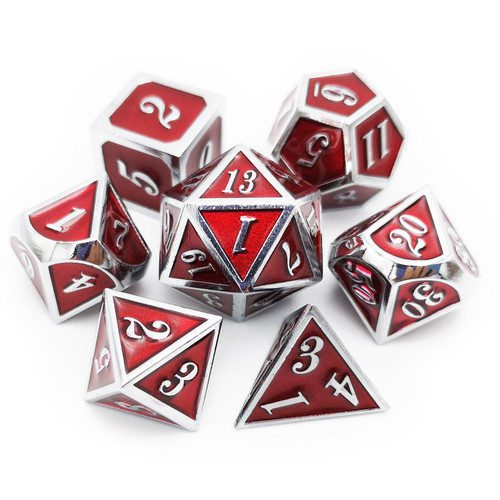 Silver red metal dnd dice set