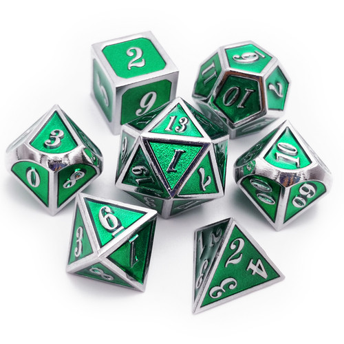 Metal dice set Silver Emerald Green