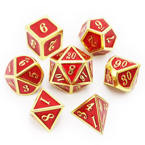 Metal dice set gold red