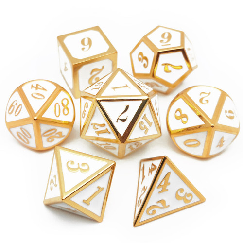 Metal dnd dice set gold white
