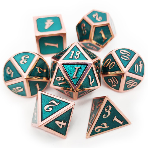 Metal dnd dice set copper teal green