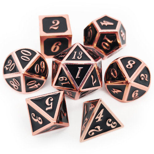 Metal dnd dice set copper black