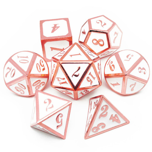 Metal dnd dice set copper white