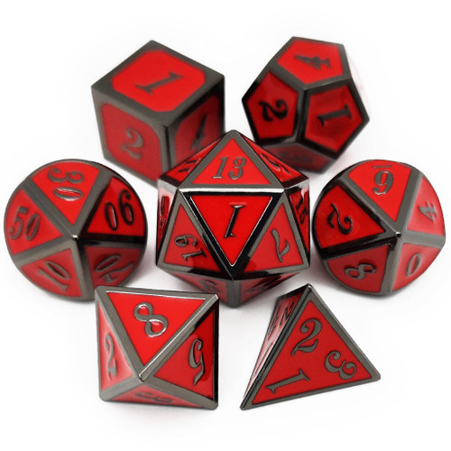 D&D Metal Dice Set for Dungeons and Dragons Game-Black Red