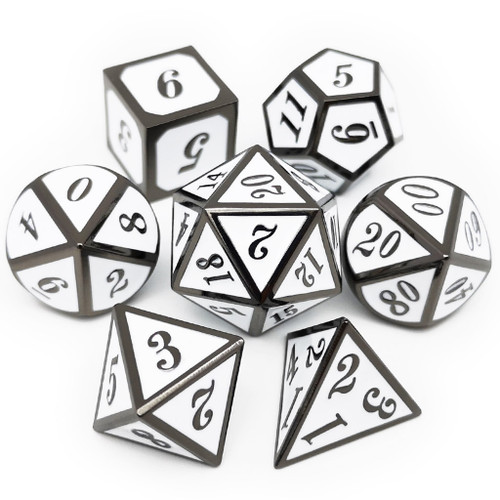 Metal dnd dice set black white