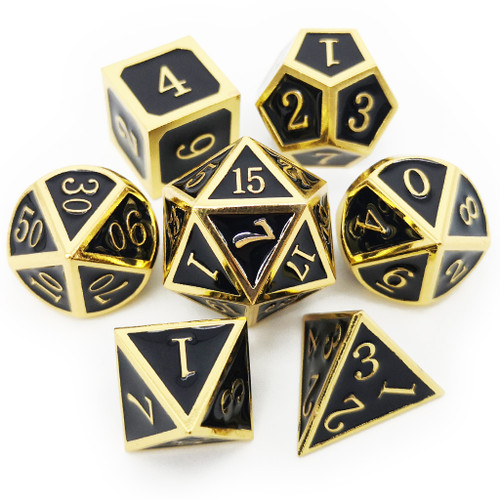 Metal dnd dice set gold black