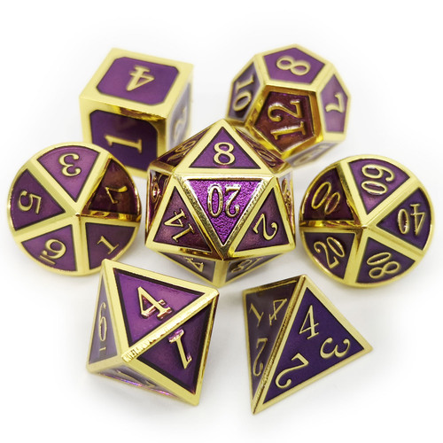 Metal dnd dice set gold purple