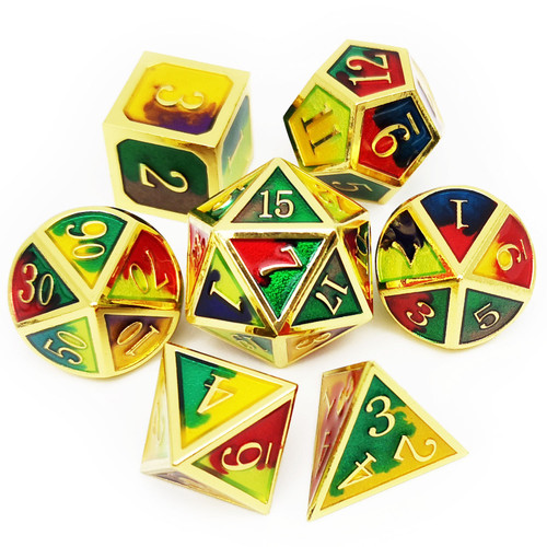 Metal dnd dice set gold rio