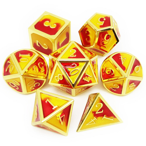 Metal dnd dice set gold inferno
