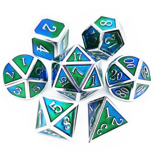 Metal dnd dice set silver blue green