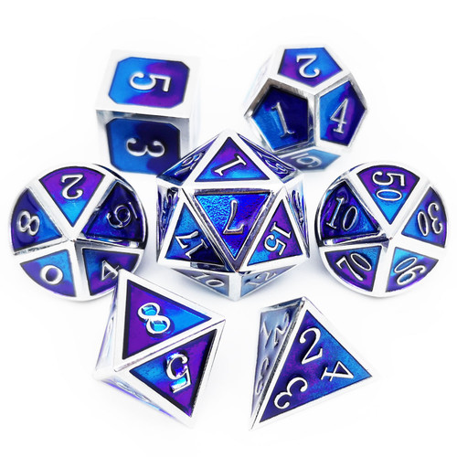 Metal DND Dice Set for Dungeons and Dragons Game-Silver Purple Blue(Myth)