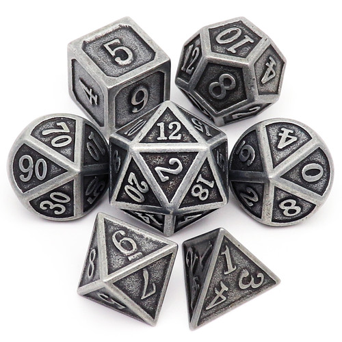 antique dice, antique metal dice, antique iron dice, metal dnd dice, metal dice set, metal dice, metal rpg dice, polyhedral metal dice, dice set, dnd dice, grey dice, black dice, stone dice