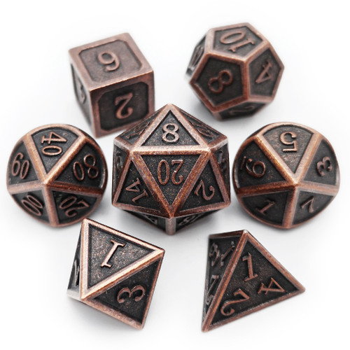 Metal dnd dice set antique copper