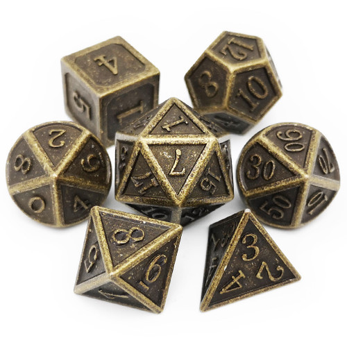 Metal dnd dice set antique bronze