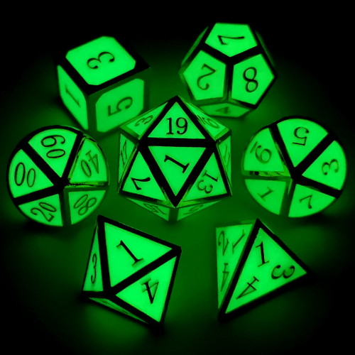 Metal dnd dice set glow in the dark gold glowing green