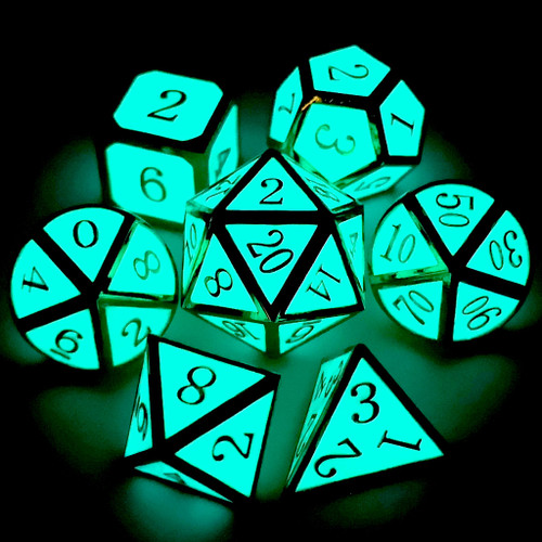 Metal dnd dice set glow in the dark gold glowing blue