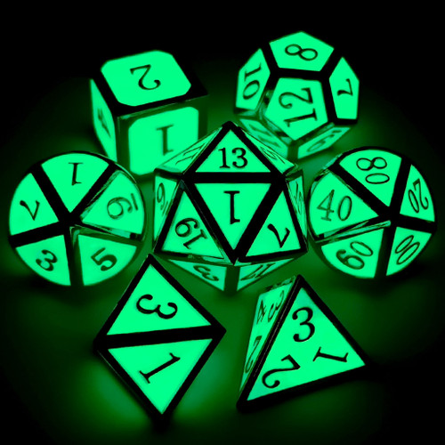 Metal dnd dice set glow in the dark silver green