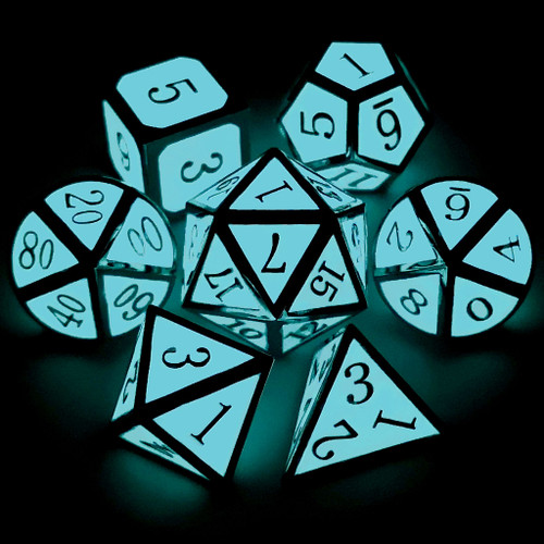 Metal dnd dice set glow in the dark silver blue