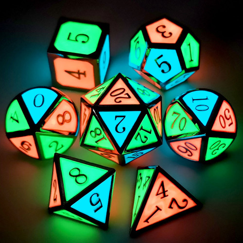 Metal dnd dice set glow in the dark silver RGB