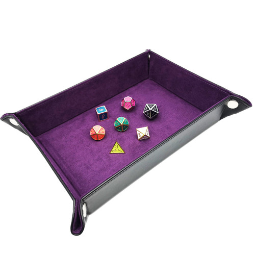 Haxtec Leather dice tray dnd purple