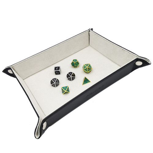 Haxtec Leather dice tray dnd light grey