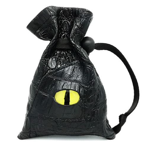 haxtec leather dice bag with yellow dragon eye