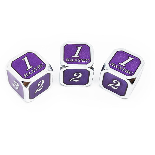 Haxtec D6 dnd dice set 3pcs silver royal purple