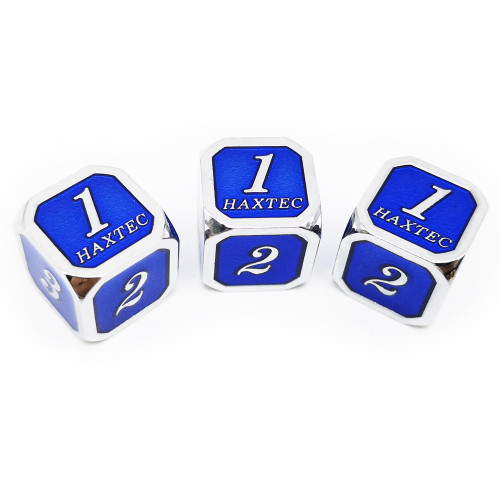 Haxtec D6 dnd dice set 3pcs silver navy blue