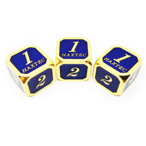 Haxtec D6 dnd dice set 3pcs gold navy blue
