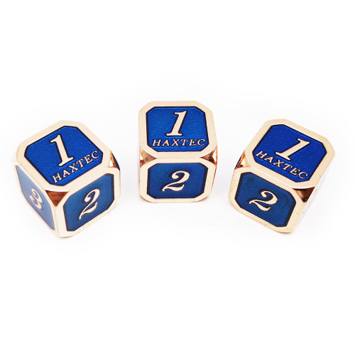 Haxtec D6 dnd dice set 3pcs rose gold blue