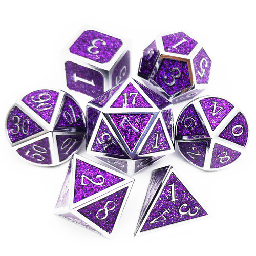 Metal glitter dice set silver purple