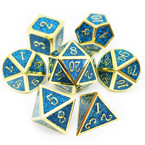 Metal glitter dice set gold blue