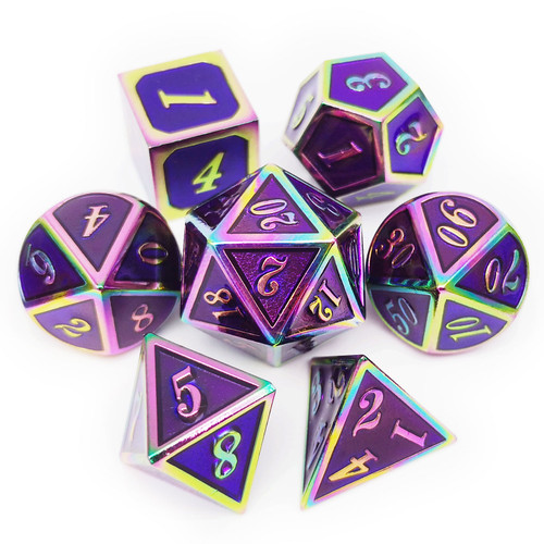 Rainbow Metal DND Dice-Purple Rainbow