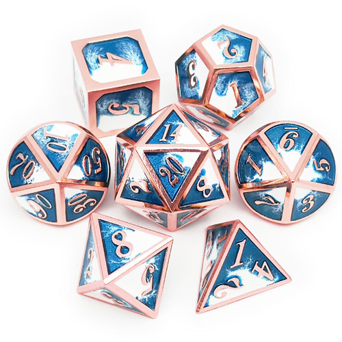 copper dice, ice dice, rosegold dice, blue and white dice, blue dice, white dice