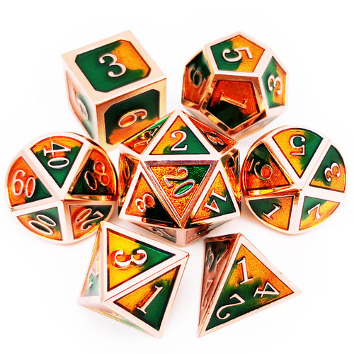 D&D Metal Dice Set for Dungeons and Dragons Game-Copper Green Brown