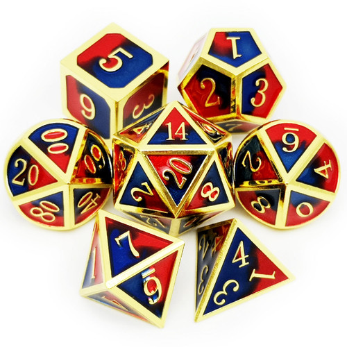 gold metal dice, blue and red dice, blue dice, red dice