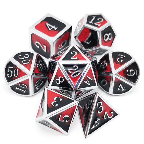Metal DND Dice Set for Dungeons and Dragons Game-Silver Black Red(Vampire)