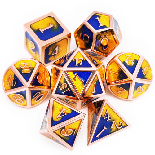 Metal DND Dice Set for Dungeons and Dragons Game-Copper Blue Gold(Populus)